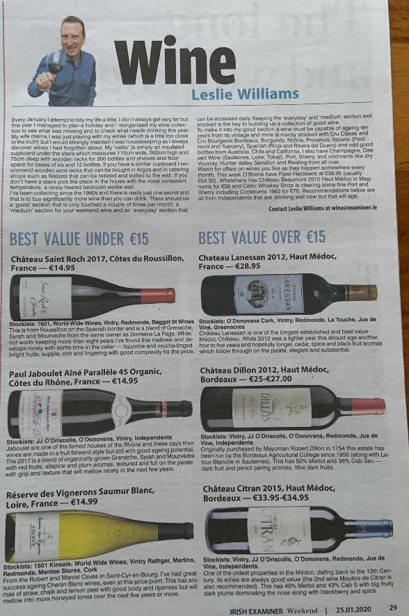 Mackenway Wines Recommeded by Leslie Williams at The Irish Examiner